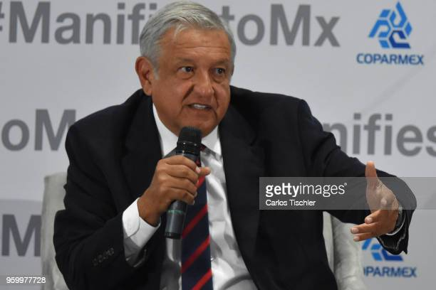 Andres Manuel Lopez Obrador presidential candidate for National Regeneration Movement Party / 'Juntos Haremos Historia' coalition speaks during a...
