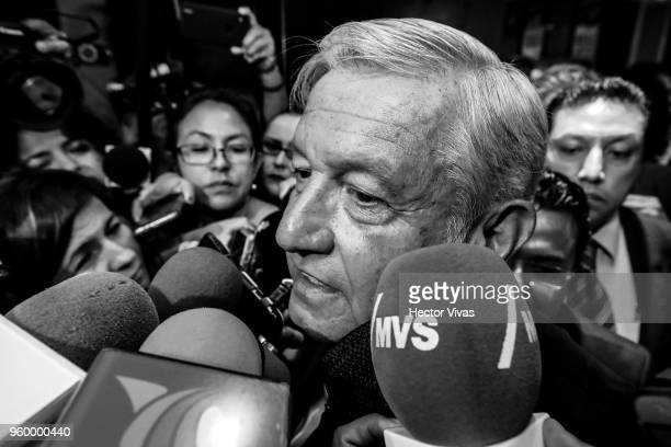 Andres Manuel Lopez Obrador presidential candidate for National Regeneration Movement Party / 'Juntos Haremos Historia' coalition speaks to the press...