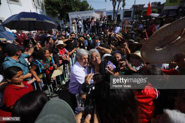 Andres Manuel Lopez Obrador presidential candidate of the National Regeneration Movement Party walks and greets supporters during an Election...