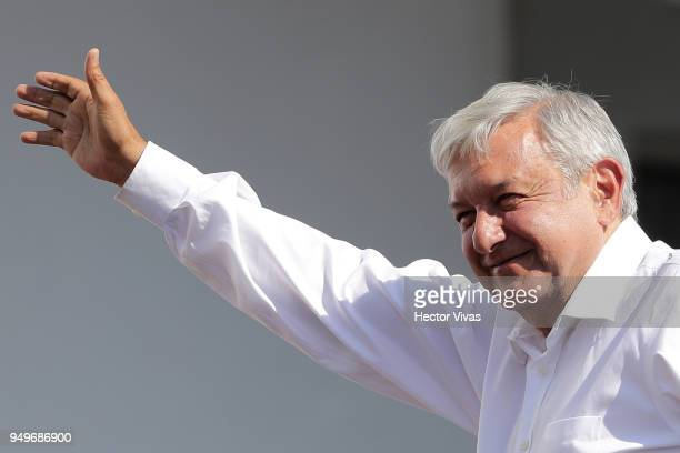 Andres Manuel Lopez Obrador presidential candidate of the National Regeneration Movement Party greets supporters during an Election Campaign Event on...