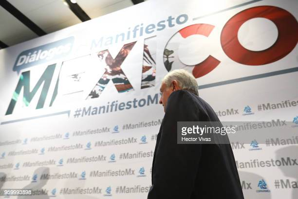 Andres Manuel Lopez Obrador presidential candidate of the National Regeneration Movement Party / 'Juntos Haremos Historia' walks onto the stage...