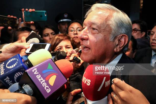 Andres Manuel Lopez Obrador presidential candidate of the National Regeneration Movement Party / 'Juntos Haremos Historia' coalition speaks to the...