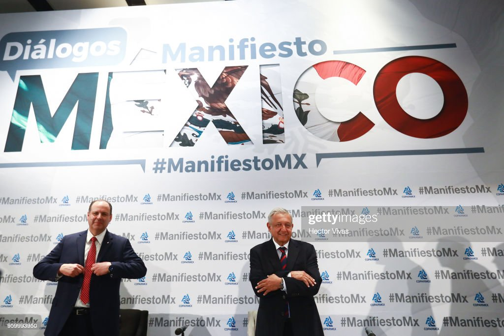 Andres Manuel Lopez Obrador presidential candidate of the National Regeneration Movement Party (MORENA) / 'Juntos Haremos Historia' coalition gestures during a conference as part of the 'Dialogues: Mexico Manifesto' Event at Hilton Hotel on May 17, 2018 in Mexico City, Mexico.