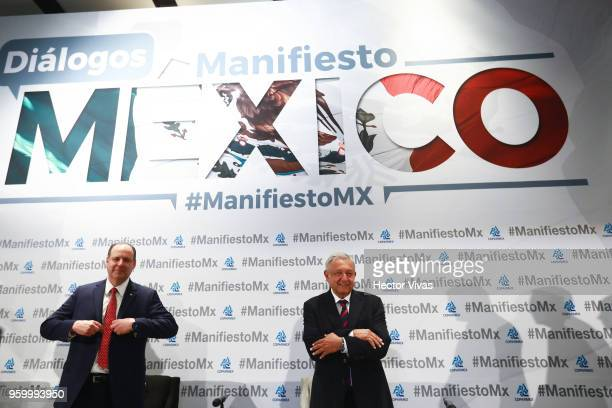 Andres Manuel Lopez Obrador presidential candidate of the National Regeneration Movement Party / 'Juntos Haremos Historia' coalition gestures during...
