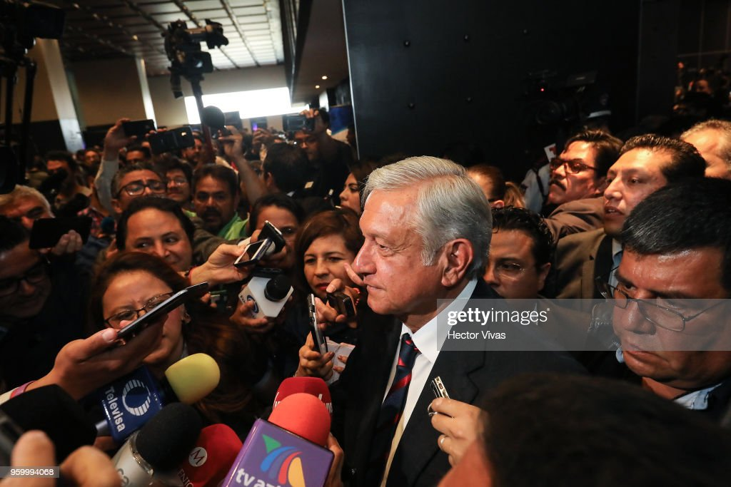 Andres Manuel Lopez Obrador presidential candidate of the National Regeneration Movement Party (MORENA) / 'Juntos Haremos Historia'coalition speaks to the press after a conference as part of the 'Dialogues: Mexico Manifesto' Event at Hilton Hotel on May 17, 2018 in Mexico City, Mexico.