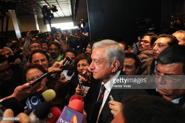 Andres Manuel Lopez Obrador presidential candidate of the National Regeneration Movement Party / 'Juntos Haremos Historia'coalition speaks to the...