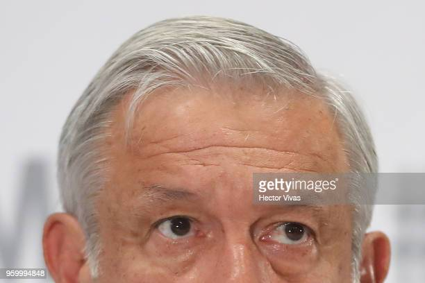 Andres Manuel Lopez Obrador presidential candidate of the National Regeneration Movement Party gestures during a conference as part of the 'Dialogues...