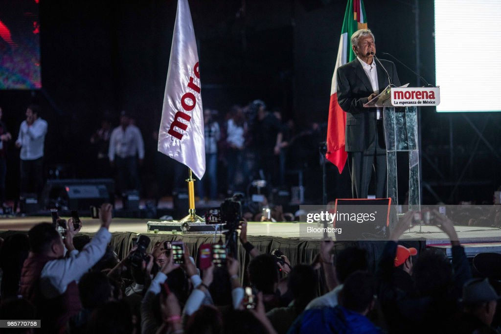 Andres Manuel Lopez Obrador, presidential candidate of the National Regeneration Movement Party (MORENA), speaks during the final campaign rally at the Estadio Azteca in Mexico City, Mexico, on Wednesday, June 27, 2018. Lopez Obrador promises to put the poor first with a raft of new social programs -- and to stand up to the U.S. President, who has been denouncing Mexico since before he got elected. Photographer: Alejandro Cegarra/Bloomberg via Getty Images