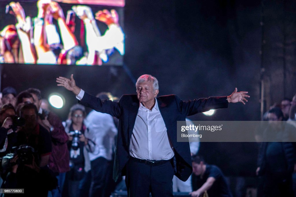 Presidential Front Runner Lopez Obrador Holds Final Campaign Rally At Mexico's Largest Stadium : News Photo