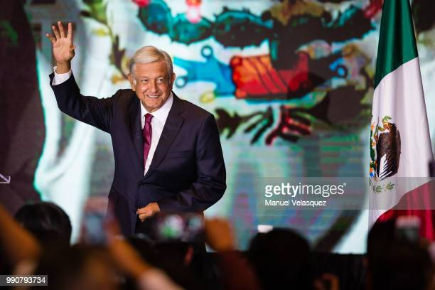 Andres Manuel Lopez Obrador, salutes attendants after his virtual victory in the elections for the Presidency of Mexico in the Media Center at the...