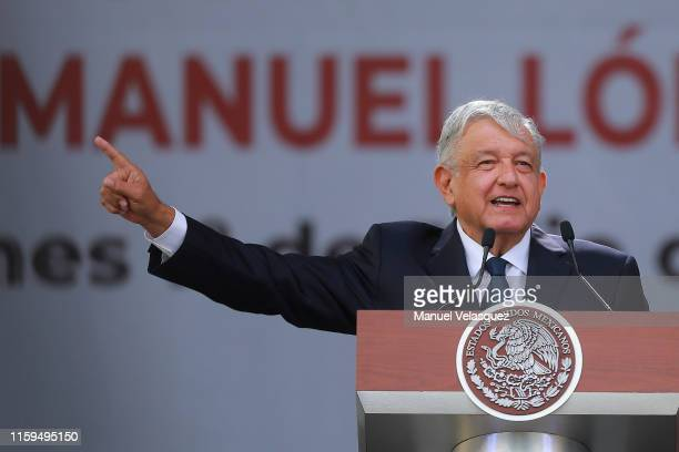 Andres Manuel Lopez Obrador speaks during a ceremony to celebrate his administration's first anniversary at Zocalo on July 01, 2019 in Mexico City,...