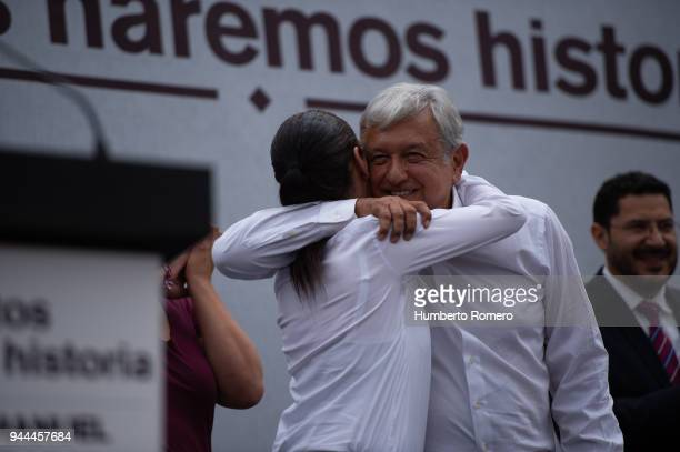 Andres Manuel Lopez Obrador the front runner of the Mexican presidential election race greets Claudia Sheinbaum City Mayor candidate during a...