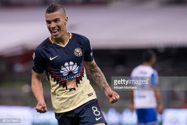 Andres Matheus Uribe of America celebrates after scoring the first goal of his team during the 16th round match between America and Puebla as part of...