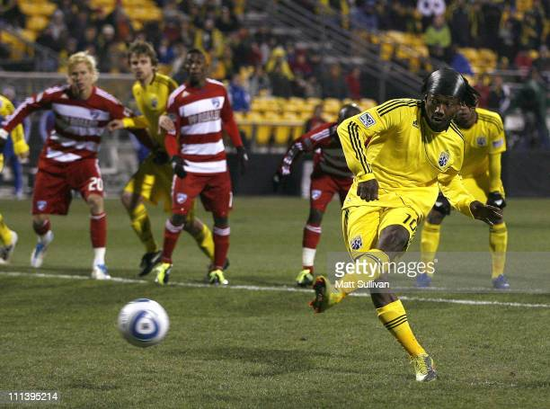 Andres Mendoza of the Columbus Crew scores a goal on a penalty kick against FC Dallas at Crew Stadium on April 1 2011 in Columbus Ohio
