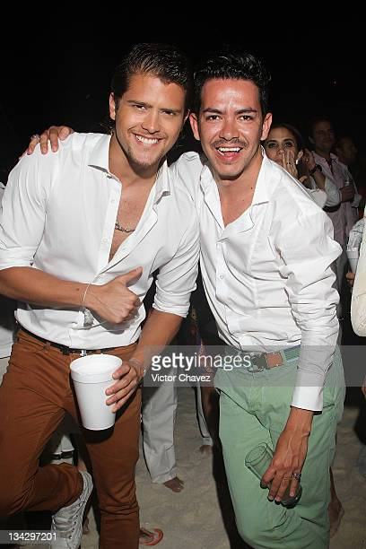 Andres Mercado and film director Manolo Caro attends the Cancun Moda Nextel 2011 cocktail party at the Le Blanc Spa Resort on November 26 2011 in...