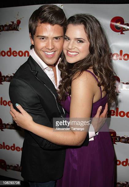 Andres Mercado and Isabella Castillo attend a press conference to present Nickelodeon Latin's new show 'Grachi' during Natpe 2011 at Fontainebleau...