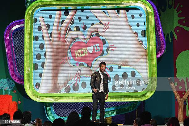 Andres Mercado speaks onstage during the Kids Choice Awards Mexico 2013 at Pepsi Center WTC on August 31 2013 in Mexico City Mexico