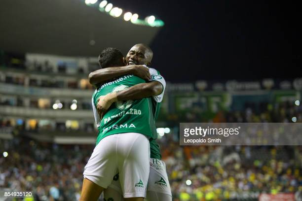 Andres Mosquera of Leon celebrates the victory with Elias Hernandez after the 11th round match between Leon and America as part of the Torneo...
