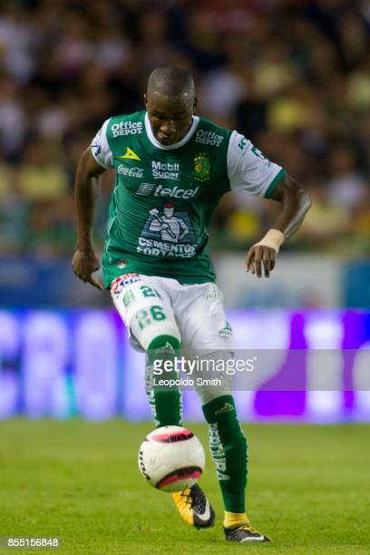 Andres Mosquera of Leon in action during the 11th round match between Leon and America as part of the Torneo Apertura 2017 Liga MX at Leon Stadium on...