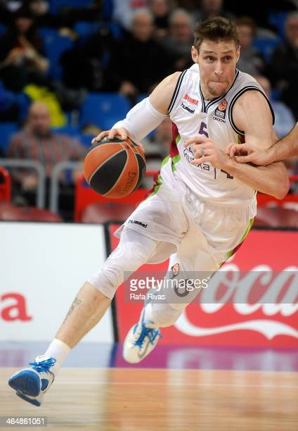 Andres Nocioni #5 of Laboral Kutxa Vitoria in action during the 20132014 Turkish Airlines Euroleague Top 16 Date 4 game between Laboral Kutxa Vitoria...