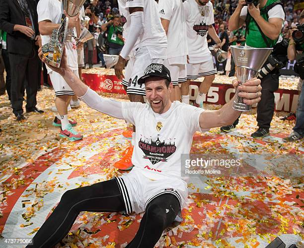 Andres Nocioni, #6 of Real Madrid celebrates victory against Olympiacos Piraeus in the Turkish Airlines Euroleague Final Four Madrid 2015 Final Game...