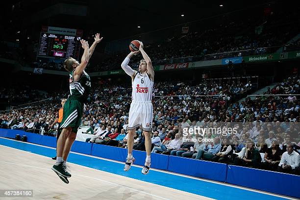 Andres Nocioni #6 of Real Madrid in action during the 20142015 Turkish Airlines Euroleague Basketball Regular Season Date 1 between Real Madrid v...