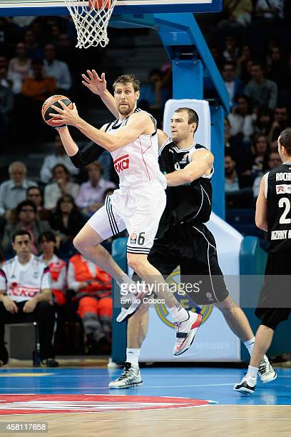 Andres Nocioni #6 of Real Madrid in action during the 20142015 Turkish Airlines Euroleague Basketball Regular Season Date 3 game between Real Madrid...