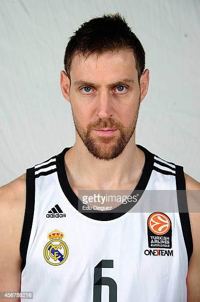 Andres Nocioni #6 poses during the Real Madrid 2014/2015 Turkish Airlines Euroleague Basketball Media Day at Barclaycard Center on October 2 2014 in...