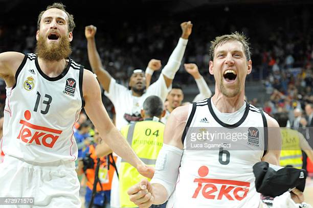 Andres Nocioni and Sergio Rodriguez, #13 of Real Madrid in action during the Turkish Airlines Euroleague Final Four Madrid 2015 Final Game between...
