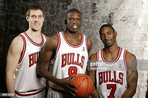 Andres Nocioni Luol Deng and Ben Gordon of the Chicago Bulls pose during the Sophomore/Rookie Portraits prior to TMobile Rookie Challenge on February...