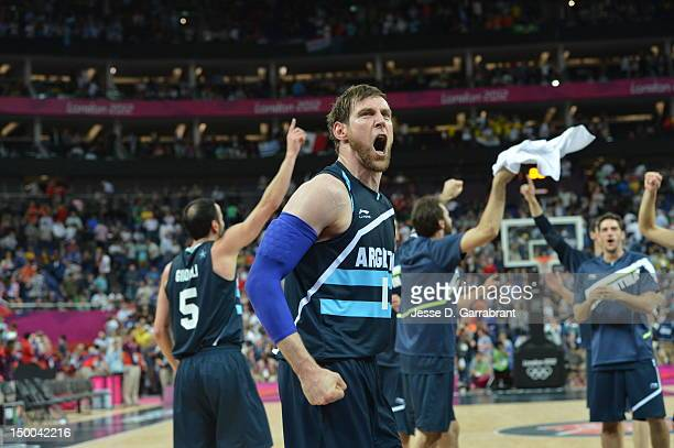 Andres Nocioni of Argentina reacts against Brazil during their Basketball Game on Day 10 of the London 2012 Olympic Games at the North Greenwich...