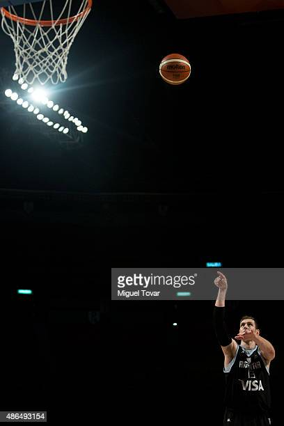 Andres Nocioni of Argentina takes a free throw during a match between Venezuela and Argentina as part of the 2015 FIBA Americas Championship for Men...