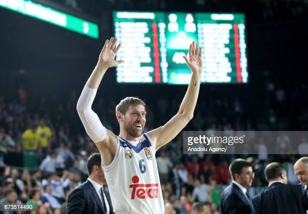 Andres Nocioni of Real Madrid celebrates after the Turkish Airlines EuroLeague Playoffs match between Darussafaka Dogus and Real Madrid at Volkswagen...