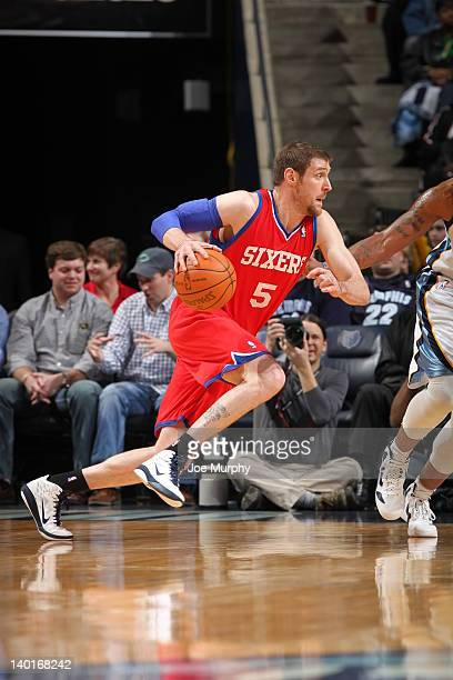 Andres Nocioni of the Philadelphia 76ers handles the ball against the Memphis Grizzlies on February 21 2012 at FedExForum in Memphis Tennessee NOTE...