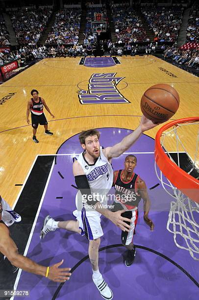 Andres Nocioni of the Sacramento Kings gets to the basket against the Portland Trail Blazers during a preseason game on October 7 2009 at ARCO Arena...