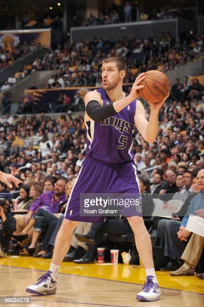 Andres Nocioni of the Sacramento Kings looks to pass the ball against the Los Angeles Lakers at Staples Center on April 13 2010 in Los Angeles...