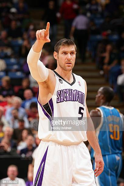 Andres Nocioni of the Sacramento Kings points during the game against the New Orleans Hornets at Arco Arena on November 29 2009 in Sacramento...