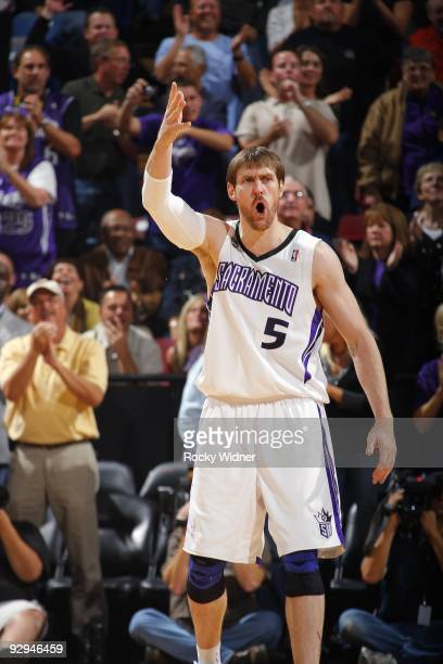 Andres Nocioni of the Sacramento Kings reacts during the game against the Memphis Grizzlies at Arco Arena on November 2 2009 in Sacramento California...
