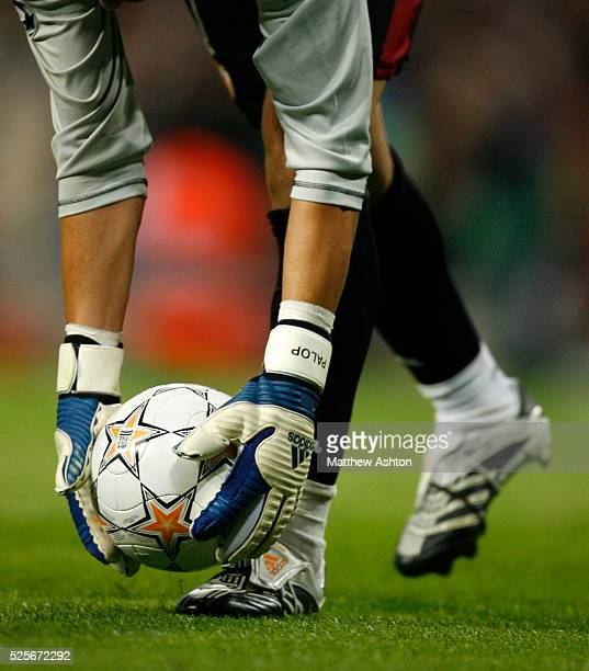 Andres Palop of Sevilla FC holds the official Adidas UEFA Champions League match ball