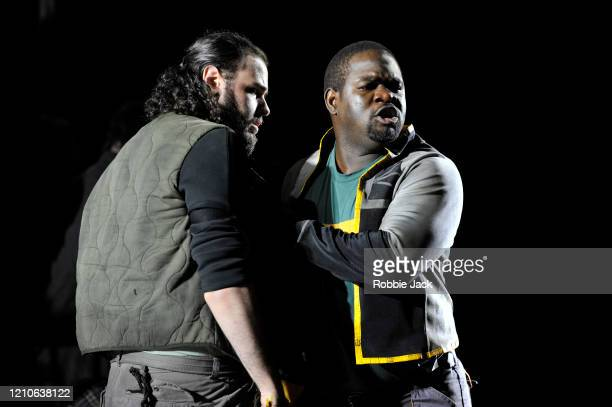 Andres Presno as First Elder and Blaise Malaba as Second Elder in The Royal Opera's production of George Frideric Handel's Susanna directed by...