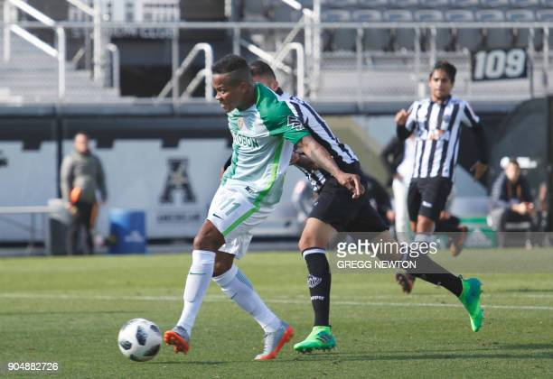 Andres Renteria of Colombian side Atletico Nacional kicks a goal against Brazilian club Atletico Mineiro during the first half of their Florida Cup...