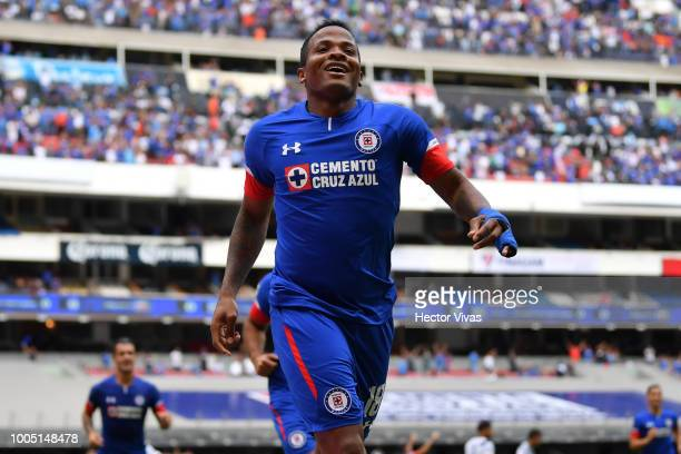 Andres Renteria of Cruz Azul celebrates after scoring the opening goal of his team during the 1st round match between Cruz Azul and Puebla as part of...