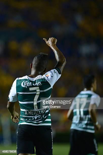 Andres Renteria of Santos celebrates after scoring his teams second goal during a semifinal match between Tigres UANL and Santos Laguna as part of...