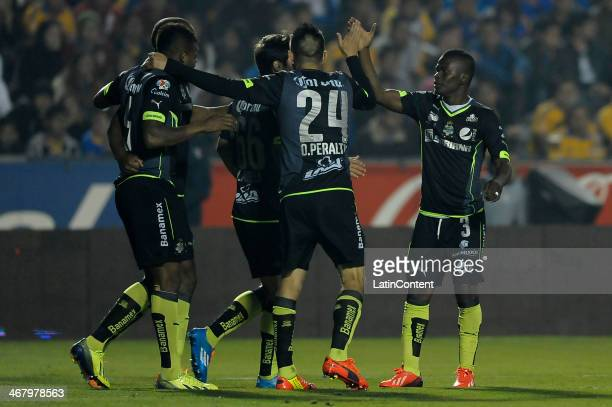 Andres Renteria of Santos celebrates with teammates during a match between Tigres UANL and Santos Laguna as part of the Clausura 2014 Liga MX at...