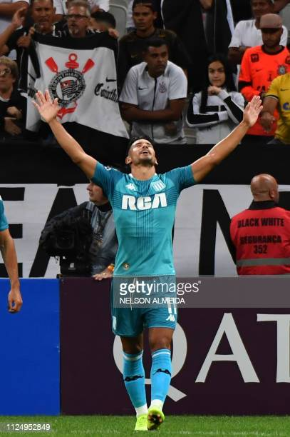 Andres Rios of Argentina's Racing celebrates after scoring against Brazils Corinthians during a 2019 Copa Sudamericana football match at Arena...