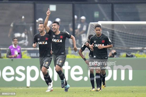Andres Rios of Vasco da Gama celebrates a scored goal during the match between Vasco da Gama and Chapecoense as part of Brasileirao Series A 2017 at...