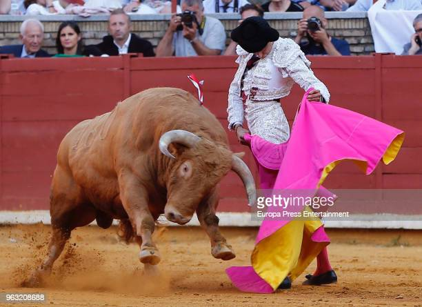 Andres Roca Rey performs during La Salud Fair at Los Califas bullring on May 26 2018 in Cordoba Spain
