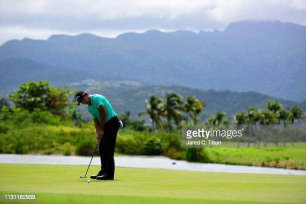 Andres Romero of Argentina attempts a birdie putt on the eighth green during the first round of the Puerto Rico Open at Coco Beach Golf and Country...