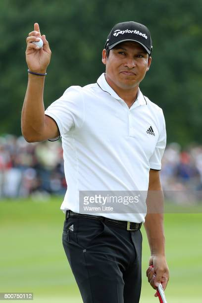 Andres Romero of Argentina celebrates on the 18th green during the final round of the BMW International Open at Golfclub Munchen Eichenried on June...