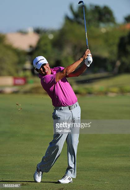 Andres Romero of Argentina hits a shot on the 18th hole during the second round of the Shriners Hospitals for Children Open at TPC Summerlin on...